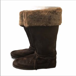 🆕 ESCAPES Brown Suede Boots with Fur Lining and Laces Size 7 NEW